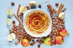 Jesieni jabłczany tarta w wypiekowym naczyniu dekorował z świeżymi jabłkami, hazelnuts i pikantność, - anyż, cynamon na szarym ku obraz royalty free