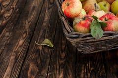 Jesieni jabłka w koszu na drewnianym tle Zdjęcia Royalty Free