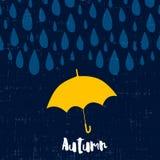 Jesieni karta z raindrops i parasolem Fotografia Royalty Free