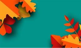 Jesieni kartka z pozdrowieniami szablon Spadek ilustracja z papieru rżniętymi pomarańcze, czerwieni i koloru żółtego liśćmi, royalty ilustracja