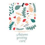 Jesieni kartka z pozdrowieniami w ręka rysującym stylu ilustracja wektor