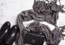 Jesieni kobiet ` s akcesoria na białej drewnianej powierzchni i odzież Zdjęcie Stock