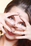 Jesieni kobiety elegancki kreatywnie uzupełniał fałszywego oka baty fotografia stock