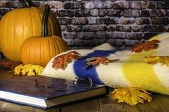 Jesieni koc i liście Obrazy Royalty Free