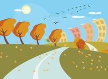Jesieni krajobrazowy wektorowy tło Obrazy Stock