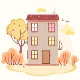 Jesieni kreskówki opowieści dom z drzewami Zdjęcia Stock
