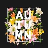 Jesieni leluja Kwitnie tło Jesień Kwiecisty projekt Obrazy Royalty Free