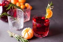 Jesieni lub zimy nagrzania napój rozmyślający wino, grog lub gorący cranberry mors z -, cytrusem i rozmarynami, opci porcja sposó Obraz Royalty Free