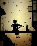 Jesieni melodia dla przyjaciela, sylwetka psa i skrzypaczki w mieście, jesieni nostalgia, ilustracji