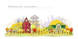 Jesieni miasta tło royalty ilustracja