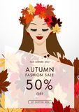 Jesieni mody sprzedaży tło z rocznika kolorowym urlopem, vect Zdjęcia Royalty Free