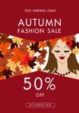 Jesieni mody sprzedaży tło z rocznika kolorowym urlopem, vect Obrazy Royalty Free