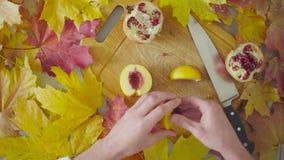 Jesieni naturemorte Szef kuchni ciie brzoskwinię zdjęcie wideo