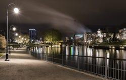 Jesieni noc przy Tampere, Finlandia Fotografia Stock