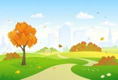 Jesieni parkowa aleja ilustracja wektor