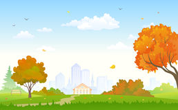 Jesieni parkowy tło ilustracja wektor