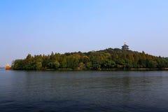 Jesieni piękno Xihu, Zachodni jezioro Obrazy Royalty Free