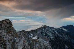 Jesieni podeszczowa zasłona uderza Karavanke Karawanken, Slovenia Austria Obrazy Royalty Free