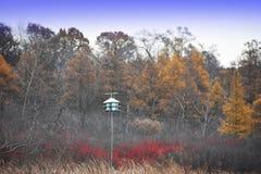Jesieni pole z Birdhouse Zdjęcia Stock