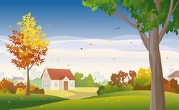Jesieni przedmieście ilustracji