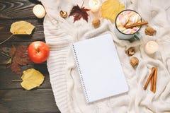 Jesieni rama robić wysuszeni spadków liście, kubek kakao z marshmellows, dokrętki, cynamon, szkocka krata, jabłka i otwarty copyb Zdjęcia Royalty Free