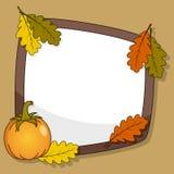 Jesieni rama z banią & liśćmi Zdjęcia Royalty Free