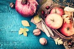 Jesieni rama z granatowem, jabłkiem i spadków liśćmi, Spadku backg obrazy royalty free