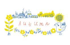 Jesieni ramy projekt z gospodarstwem rolnym i kwiatami ilustracji