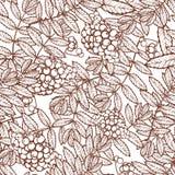 Jesieni rowanberry liście i seads bezszwowy wzór Zdjęcie Royalty Free