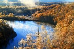 Jesieni rzeki drzewo Zdjęcia Royalty Free