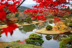 Jesieni sceneria piękny W Cesarskiej willi Shugakuin Rikyu Zdjęcie Stock