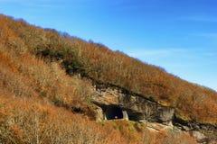 Jesieni Sceniczna przejażdżka wzdłuż Błękitnego grani Parkway w Północnym Caroli fotografia stock