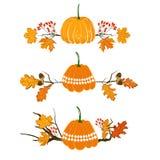 Jesieni sezonu element z bani, klonu i dębu liśćmi, acorn i czerwieni jagody, suszy gałąź Spadek dekoraci element dla Ilustracja Wektor