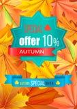 Jesieni Specjalnej oferty 10 rabat na wielobok etykietce ilustracji