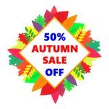 Jesieni sprzedaż, wektorowy projekta sztandar z barwionymi liśćmi Fotografia Stock