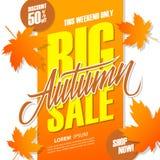 Jesieni sprzedaży Duży sztandar dla sezonowego zakupy Ten weekendowy specjalnej oferty tło z ręki jesieni i literowania liśćmi Zdjęcie Royalty Free