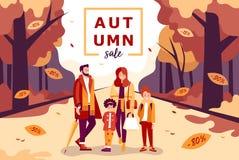 Jesieni sprzedaży ilustracja z rodziną i dzieciakami Zdjęcie Stock