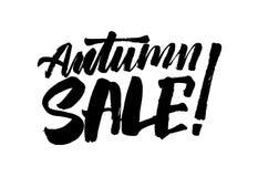 Jesieni sprzedaży kaligrafii ręka rysujący tekst Literowanie inskrypcja zdjęcie stock