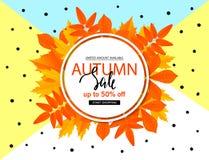 Jesieni sprzedaży plakat z spadków liśćmi Wektorowa ilustracja dla strony internetowej i wiszącej ozdoby strony internetowej szta Zdjęcia Stock