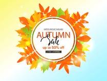 Jesieni sprzedaży plakat z spadków liśćmi Wektorowa ilustracja dla strony internetowej i wiszącej ozdoby strony internetowej szta Obraz Royalty Free
