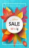 Jesieni sprzedaży spadek leafs, błękitna drewniana tekstura Obraz Royalty Free