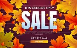 Jesieni sprzedaży szablonu sztandaru wektoru tło royalty ilustracja