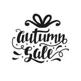 Jesieni sprzedaży sztandar z ślicznym unikalnym ręki literowaniem Zdjęcia Stock