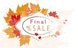 Jesieni sprzedaży sztandar Z Kolorowymi liśćmi ilustracja wektor