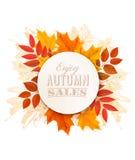 Jesieni sprzedaży sztandar Z Kolorowymi liśćmi royalty ilustracja