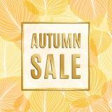 Jesieni sprzedaży sztandar z złoto ramą i jesień liśćmi Zdjęcia Stock