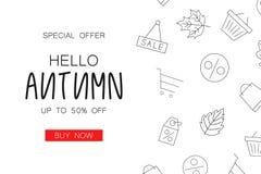 Jesieni sprzedaży tła układ dekoruje z kreskową ikoną dla robić zakupy ilustracji