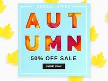 Jesieni sprzedaży tła układ dekoruje z liśćmi Zdjęcia Stock