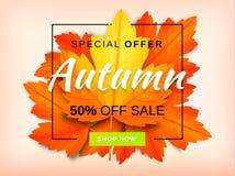 Jesieni sprzedaży tła układ dekoruje z liśćmi Zdjęcie Royalty Free