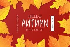 Jesieni sprzedaży tła układ dekoruje z liśćmi dla robić zakupy royalty ilustracja